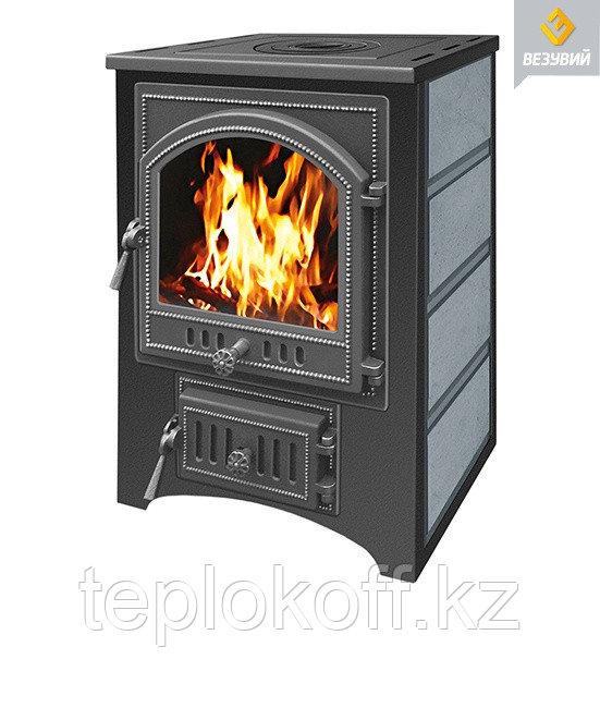 Печь - камин Везувий ПК - 01 талькохлорит с плитой 12 кВт дверка 205