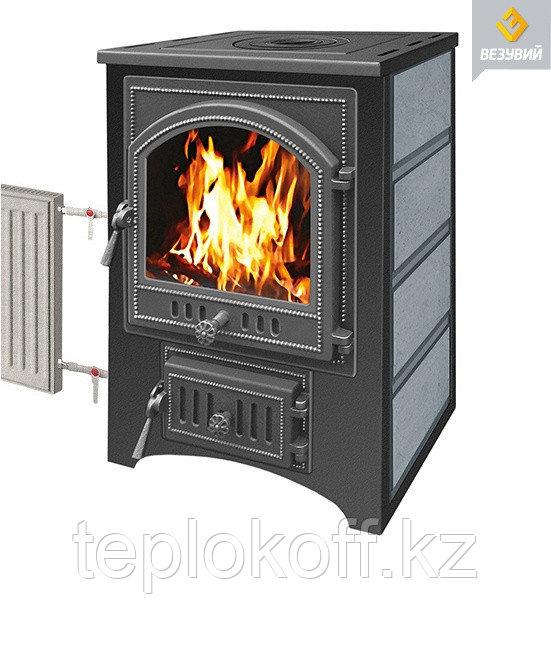Печь - камин Везувий ПК - 02 талькохлорит с плитой 12 кВт дверка 205 т/о