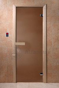 Дверь стеклянная DoorWood (стекло бронза матовая 6 мм, 2 петли, коробка хвоя) 1900*700