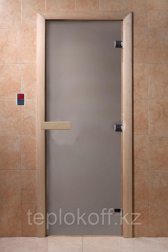Дверь стеклянная сатин 8 мм, 3 петли 1900*700 мм коробка осина