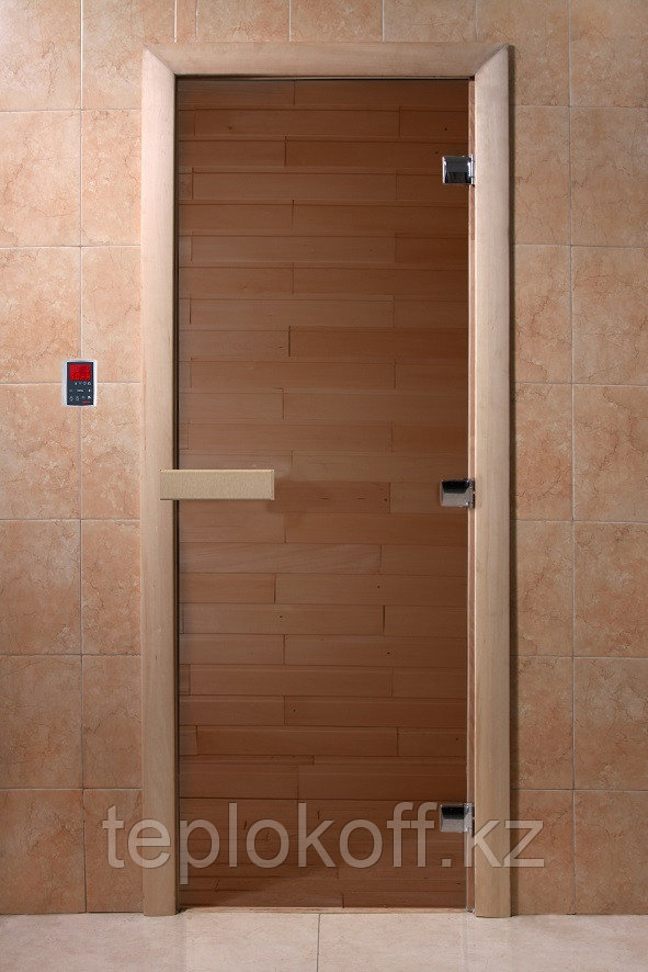 Дверь стеклянная DoorWood Теплый день (стекло бронза 8 мм, 3 петли, коробка хвоя) 1900*700