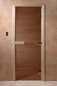 Дверь стеклянная бронза 8 мм, 3 петли, 700*1800 мм коробка листва