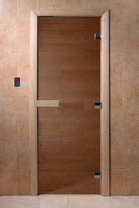 Дверь стеклянная DoorWood (стекло бронза 6 мм, 2 петли, коробка хвоя) 1900*700