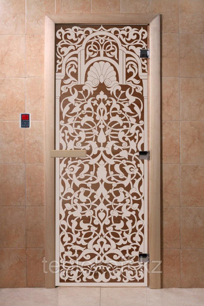 Дверь стеклянная DoorWood Флоренция арт серия (стекло бронза 8 мм, 3 петли) 1900*700