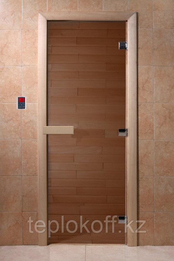 Дверь стеклянная DoorWood Теплый день (стекло бронза 8 мм, 3 петли, коробка листва) 200*700