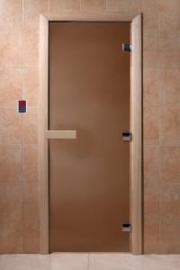 """Дверь  стеклянная """"Теплая ночь""""  1700х700 (бронза матовое, коробка листва)"""