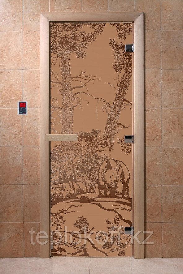 Дверь стеклянная Мишки (стекло бронза матовое 8 мм, 3 петли) 190х700 мм Банный эксперт