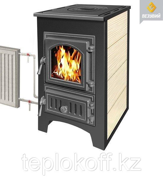 Печь - камин Везувий ПК - 01 бежевый с плитой 9 кВт дверка 270 т/о
