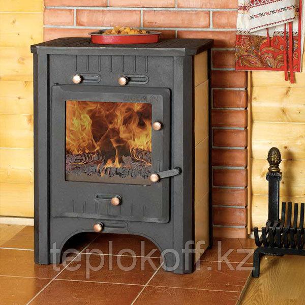 Печь - камин Бавария с чугунной плитой и теплообменником 9 кВт