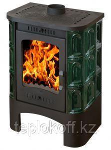 Печь - камин Бавария Барокко зеленая изразец  с плитой