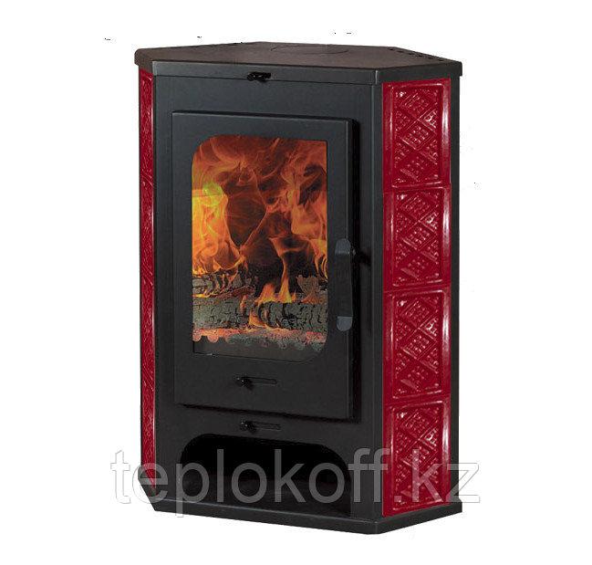 Печь - камин Бавария пристенно - угловая красная изразец с теплообменником