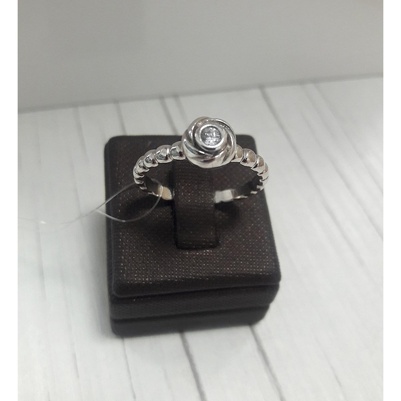 Кольцо с цирконом, серебро, размер 18