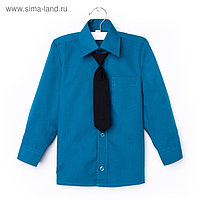 Сорочка для мальчика, нарядная с галстуком, рост 98-104 см (26), цвет морская волна 1181