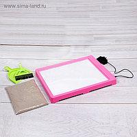 Планшет для рисования песком, песок 1 кг, совочек и метёлочка, цвет розовый, подсветка жёлтая