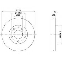 Тормозные диски Mazda Mpv  (99-06, передние, D274)