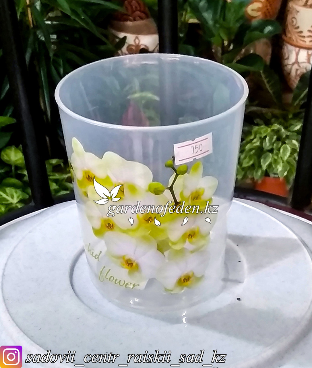 """Пластиковый горшок для орхидей """"Цветы"""". Цвет: прозрачный, 0.7л."""