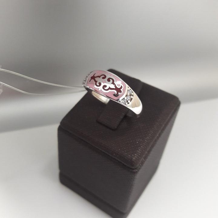 Кольцо Балауса / розовая эмаль / размер 17,5