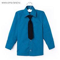 Сорочка для мальчика, нарядная с галстуком, рост 98-104 см (27), цвет морская волна 1181