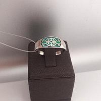 Кольцо Балауса с зелёной эмалью / размер 18