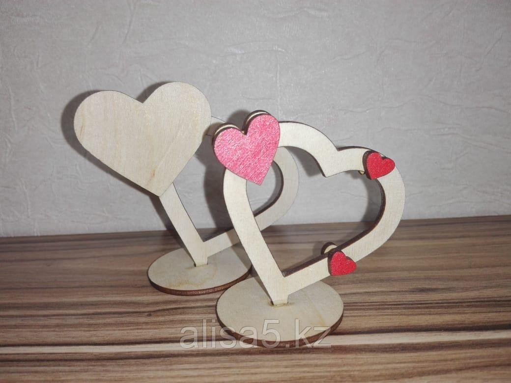 Валентинки из дерева с подставкой