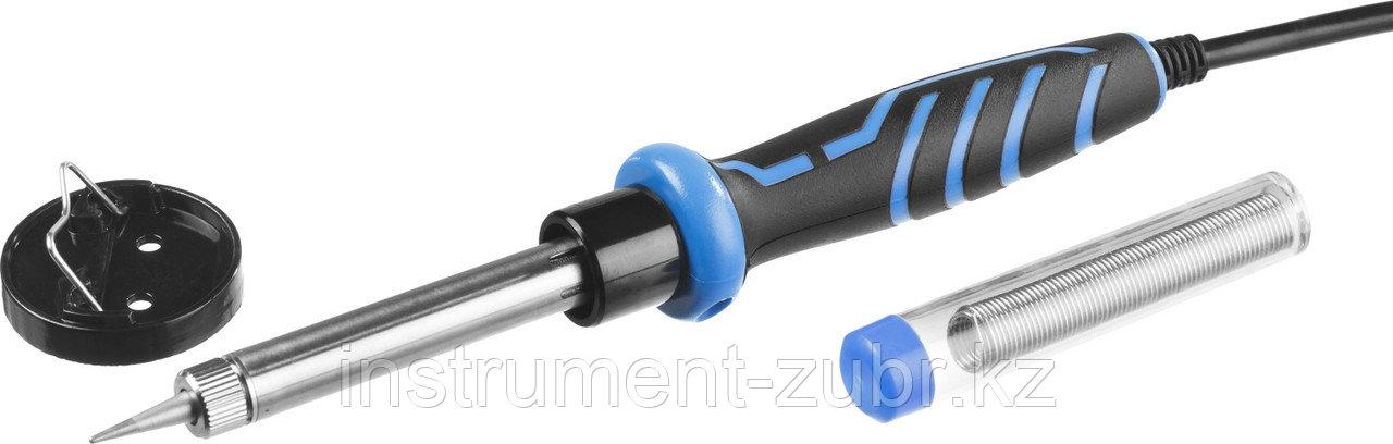 Паяльник c двухкомпонентной рукояткой в наборе с припоем и подставкой, ЗУБР Профессионал 55402-60, 60Вт, конус