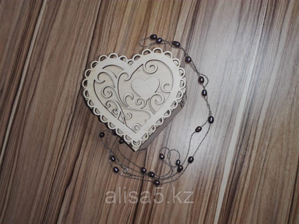 Шкатулки для мелочей в виде сердца (дерево)  9 х 10 х 4 см
