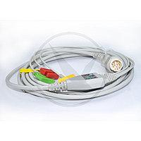 Кабель ЭКГ монитора Philips (3 отв., IEC, Snap) 023C3I, фото 1