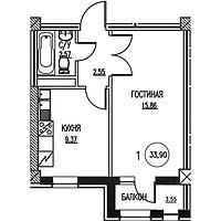 1 комнатная квартира в ЖК  Табысты  33,9 м²