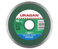 Круг отрезной алмазный URAGAN сплошной, влажная резка, для УШМ, 180х22,2мм
