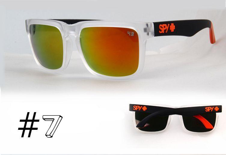 Солнцезащитные очки SPY+ Helm, прозрачная оправа, черные дужки, оранжевое лого