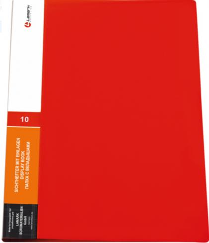 Папка с 10 вкладышами 0,60мм красная (Lamark)