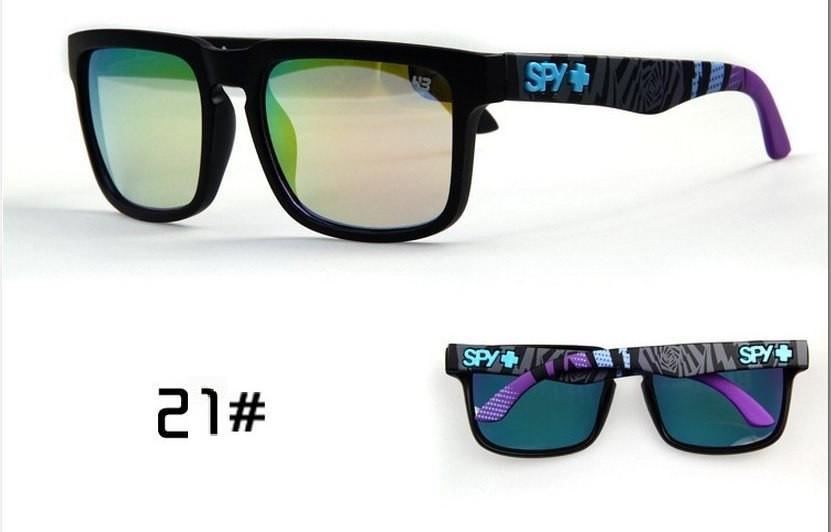 Солнцезащитные очки SPY+ Helm, черная оправа, фиолетово голубые дужки.