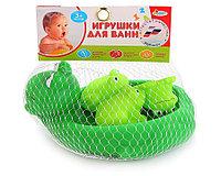 IV. Игрушки для ванной Лягушка-мыльница и 3 лягушонка, в сетке
