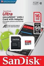 SanDisk Ultra microSDXC UHS-I 16Gb 98MB/s + SD adapter