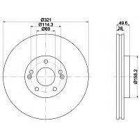 Тормозные диски Hyundai Santa Fe (05-..., передние, Veka)
