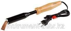 """Электропаяльник ЗУБР """"МАСТЕР"""" для лужения с деревянной рукояткой и долговечным жалом, форма клин, 150Вт"""
