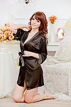 Черный,короткий ,атласный халат XS-S