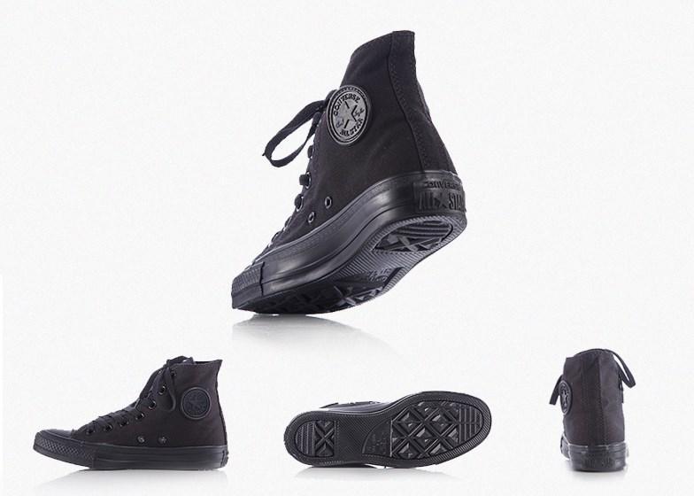 Кеды Cоnverse All Star Black, полностью черные, Высокие