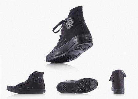 Кеды Cоnverse All Star Black, полностью черные, Высокие, фото 2