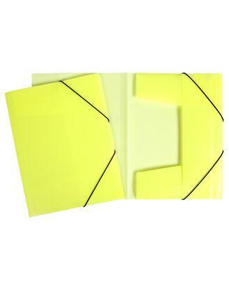 """Папка пластиковая """"Hatber HD"""", А4, с клапанами, на резинке, неоново-жёлтая"""