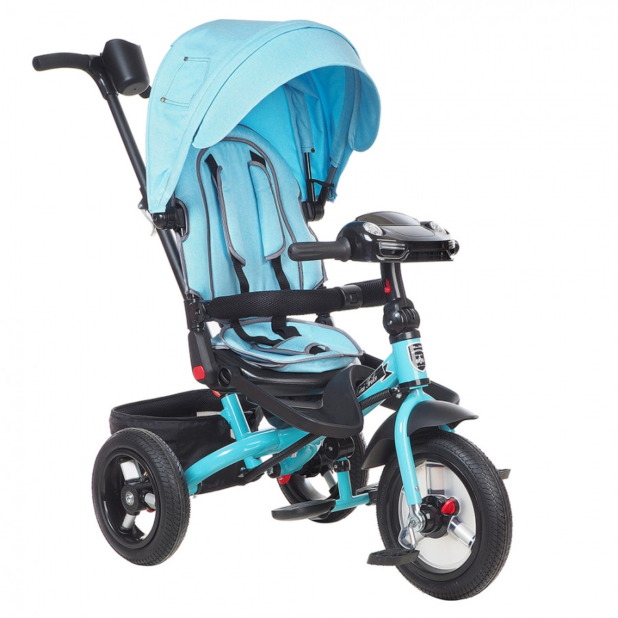 "Детский 3-х колесный велосипед Mini Trike Transformer Jeans T400/2018, надув.12""/10"", свет/муз панель Голубой"