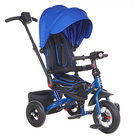 "Детский 3-х колесный велосипед Mini Trike CANOPY, надув.10""/8"", свет/муз панель Синий"