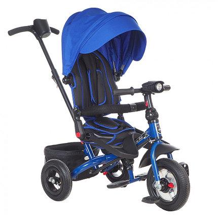 "Детский 3-х колесный велосипед Mini Trike CANOPY, надув.10""/8"", свет/муз панель Синий, фото 2"