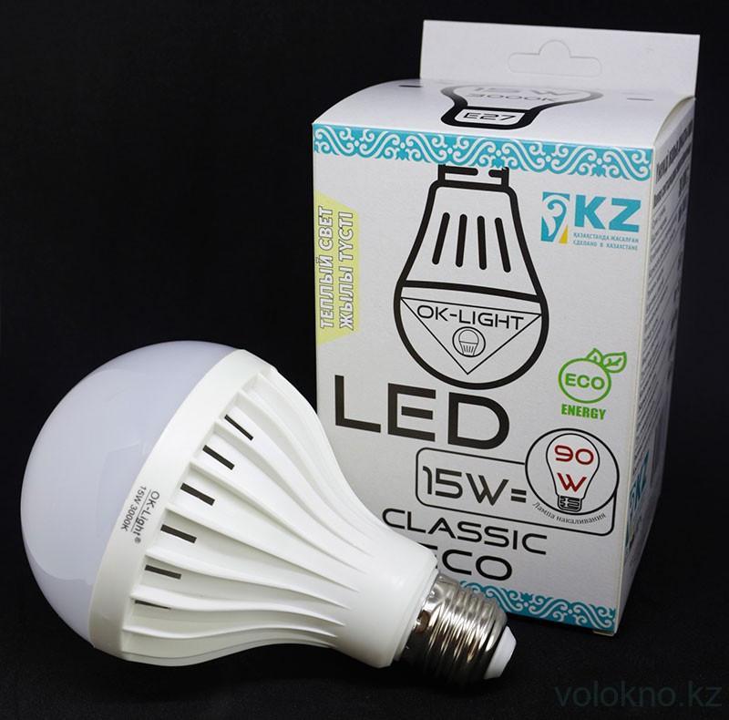 Лампа светодиодная серии CLASSIC 15W цоколь Е27 3000К Теплый белый свет