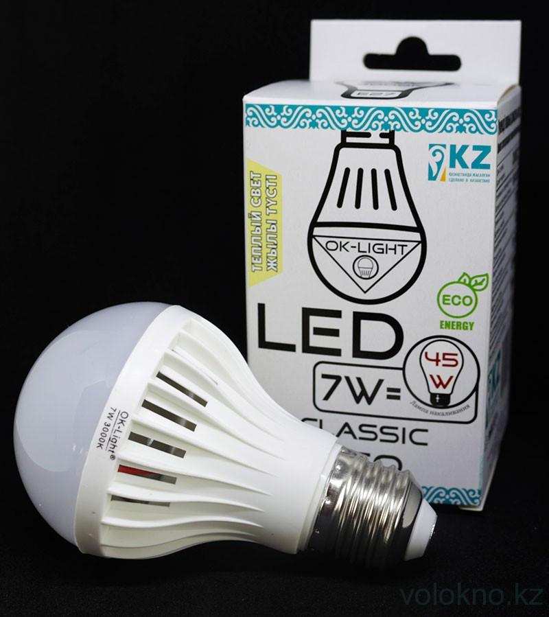 Лампа светодиодная серии CLASSIC 7W цоколь Е27 3000К Теплый белый свет
