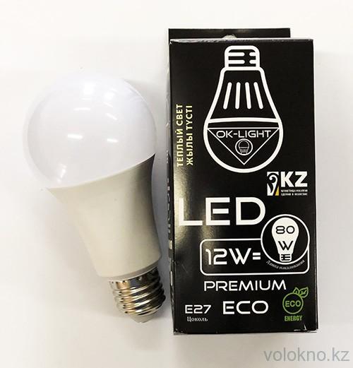Лампа светодиодная серии PREMIUM 12W цоколь Е27 3000К Теплый белый свет