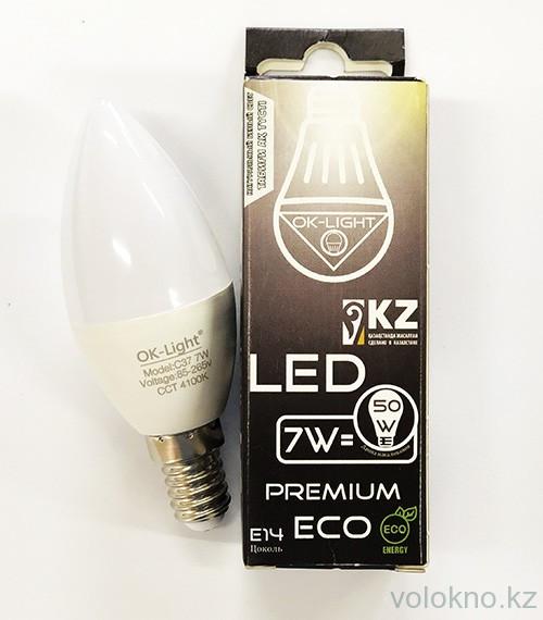 """Лампа светодиодная """"свеча""""  Е14  7W  Натуральный белый"""