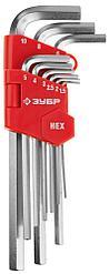 """Набор ЗУБР Ключи """"МАСТЕР"""" имбусовые длинные, Cr-V, сатинированное покрытие, пластик. держатель, HEX 1,5-10мм,"""