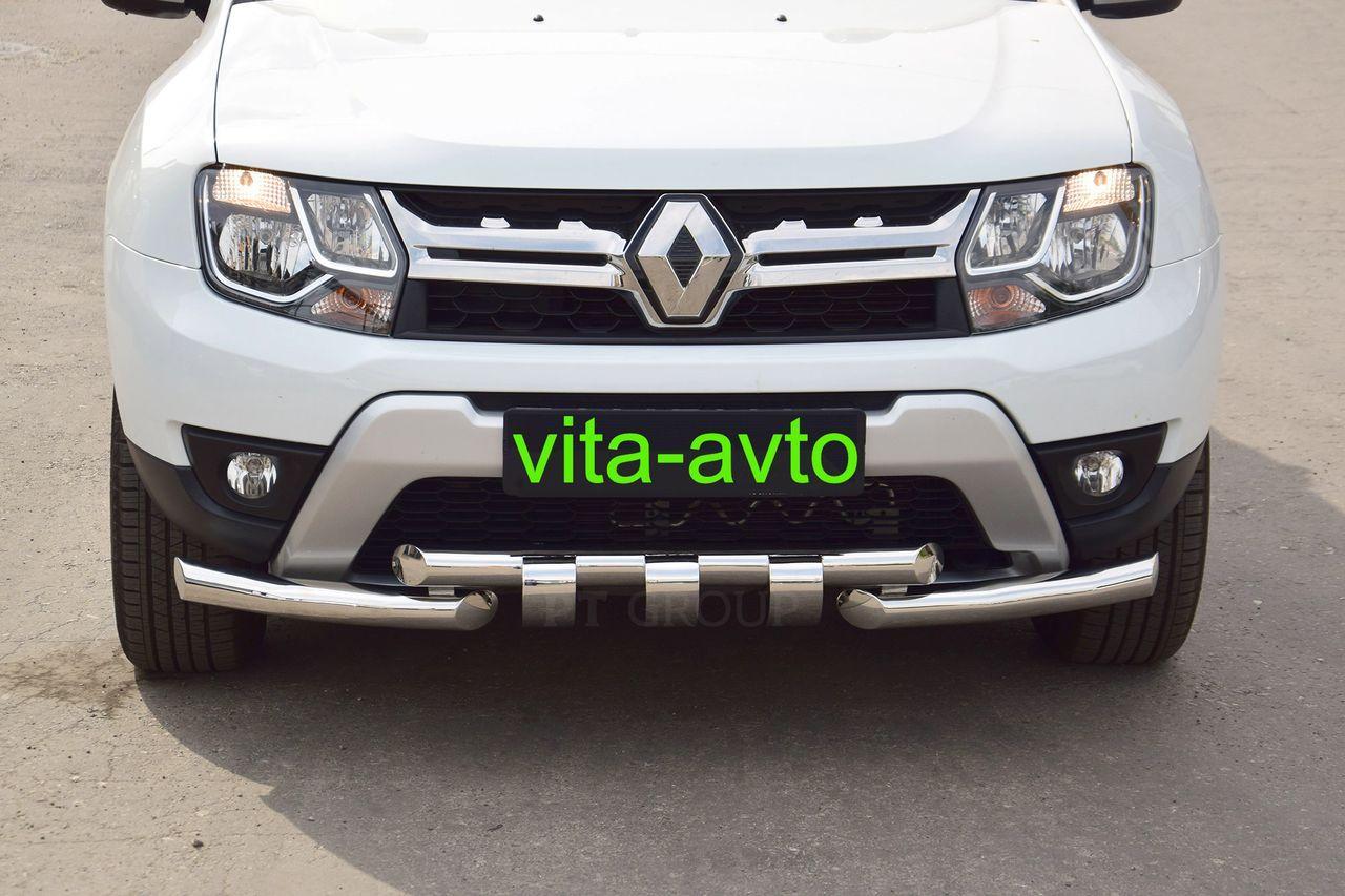 Защита переднего бампера двойная с зубьями 63/63мм (НПС) Renault Duster 2016-