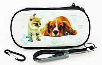 Чехол на молнии с 3D картинкой PSP 1000/2000/3000 3in1 3D picture, Котенок и Собачка, фото 1